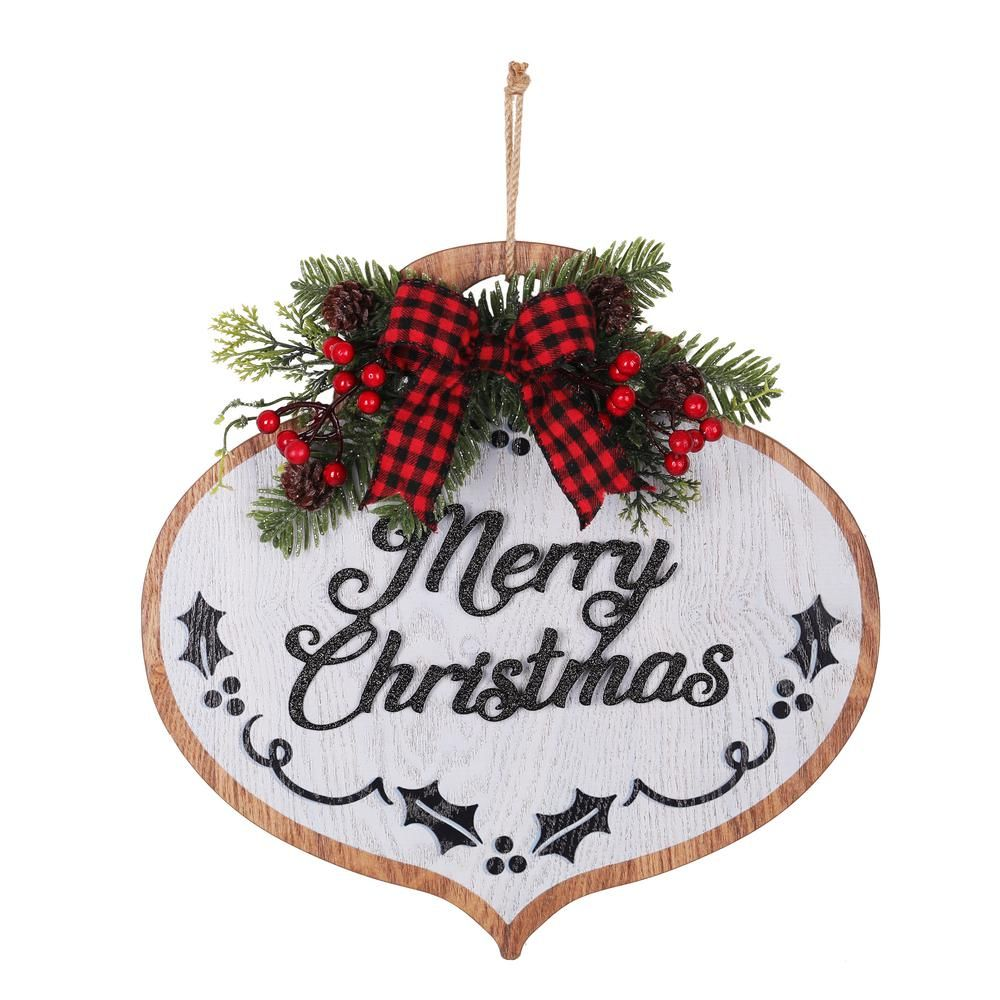Haute Decor 14 In Merry Christmas Wood Ornament Wall Hanging With Buffalo Check Ribbon Dcwd0005 The Home Depot In 2020 Handmade Christmas Decorations Christmas Ornaments Christmas Wood
