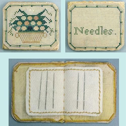 Antique Hand Stitched Bristol Board (Perforated Paper) Needle Book * Circa 1860