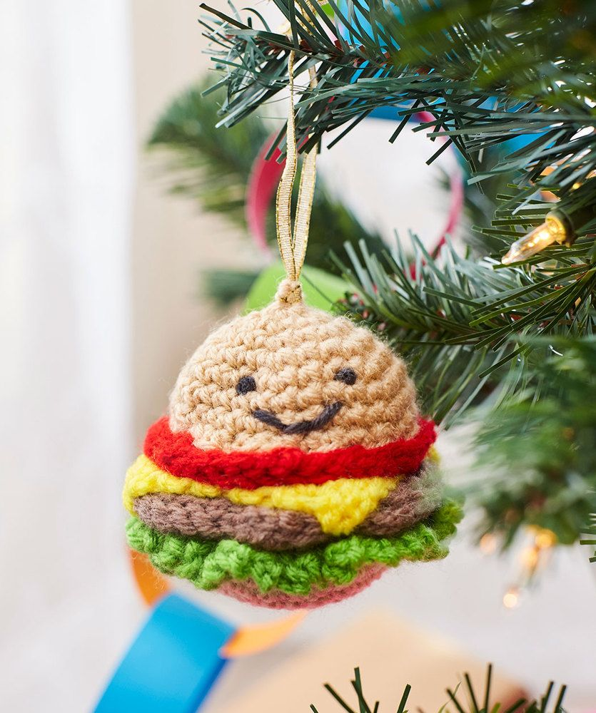 Happy Hamburger Ornament Free Christmas Crochet Pattern. Skill Level ...