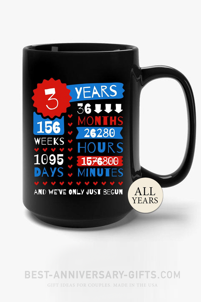 3rd Wedding Anniversary Gift Black Mug 15 oz Leather