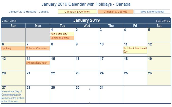 January 2019 Calendar With Holidays Canada 2019 January Calendar