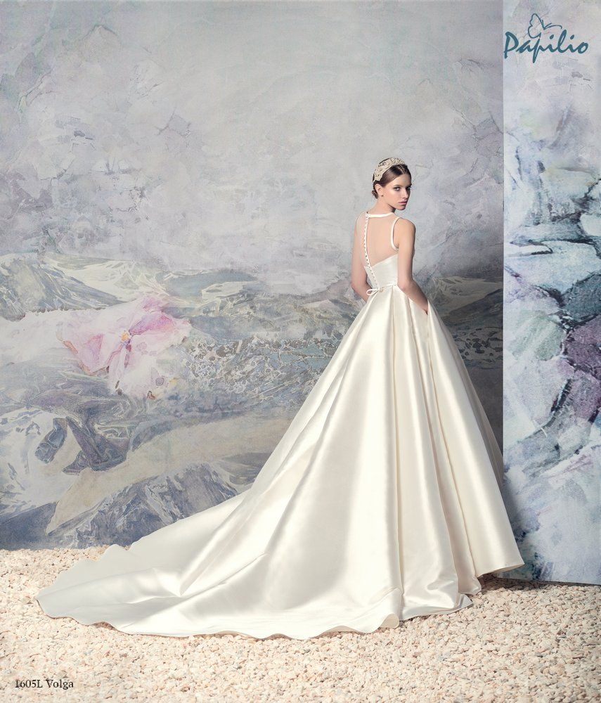 8bb9c48eddc6 A-line elegant mikado silk wedding dress with illusion bodice and skirt  gathered at the back, from Papilio