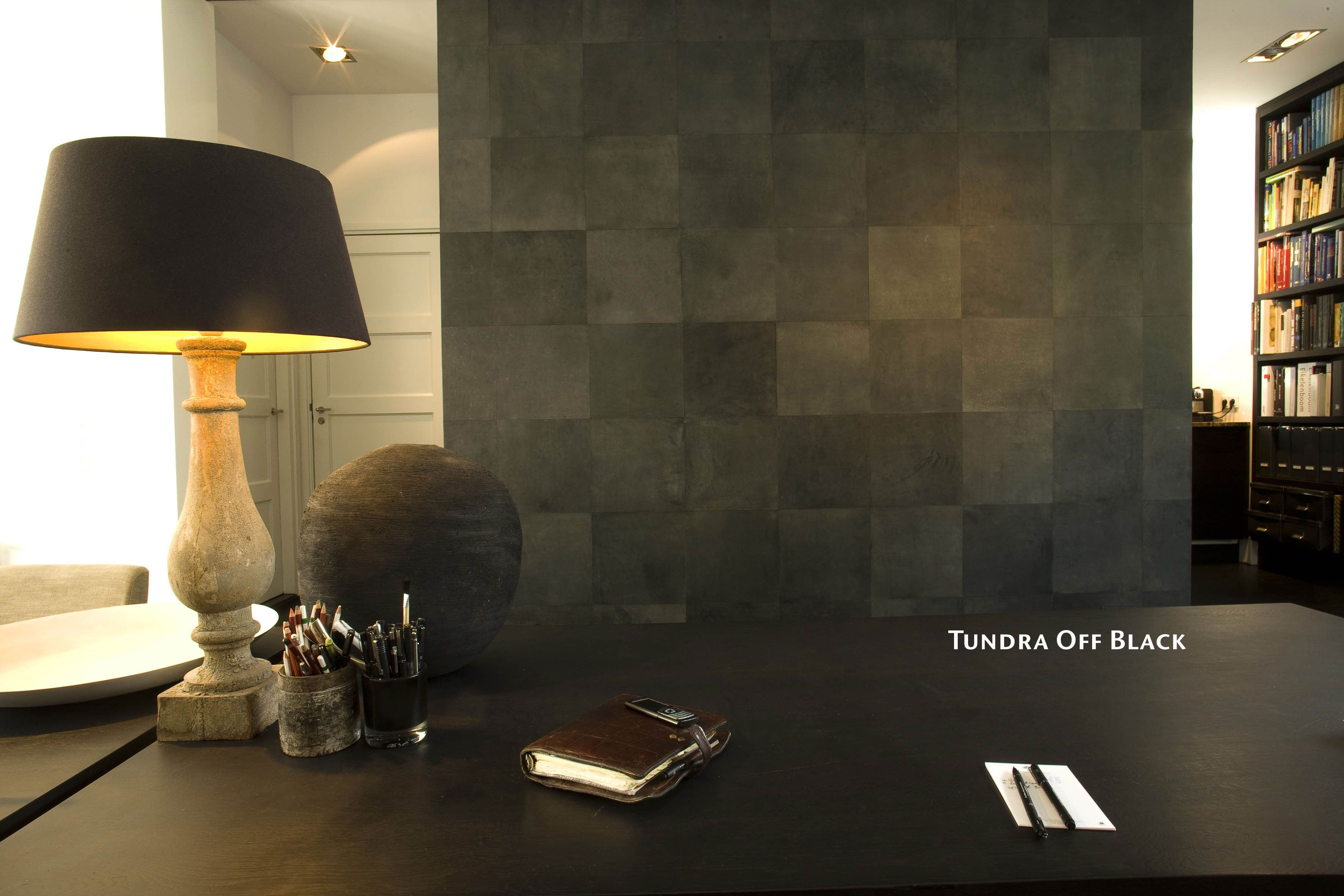 Effect wall in leather tiles made in private home. | Alphenberg ...