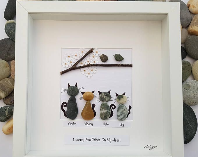 Genuine SeaGlass Pebble Art Bird Family with Bird House in a Shadow Box Frame Modern WallArt Abstract Contemporary Signed.