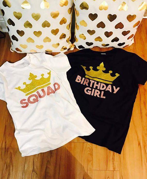 Birthday squad shirt glitter 16d16b2f5752
