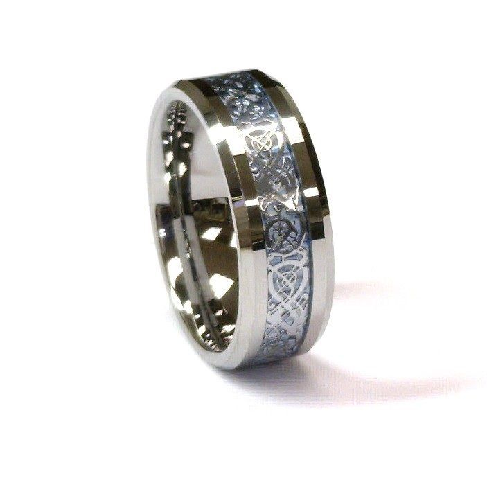 8mm Silver Celtic Dragon Tungsten Carbide Ring Men Jewelry Wedding Band All Size Lily