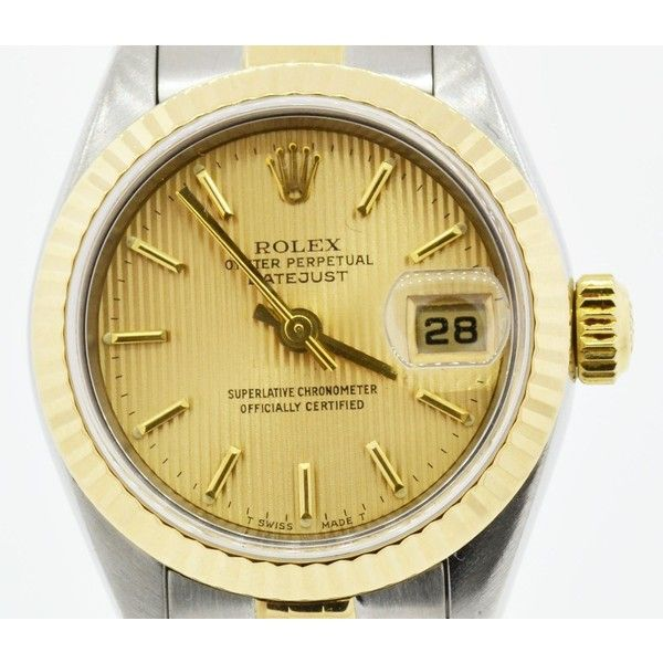 Pre-owned Rolex Datejust 79173 Champagne Dial 18K Yellow Gold... ($3,169) ❤ liked on Polyvore featuring jewelry, watches, pre owned watches, yellow gold bracelet, stainless steel jewelry, gold bracelet watches and 18 karat gold bracelet