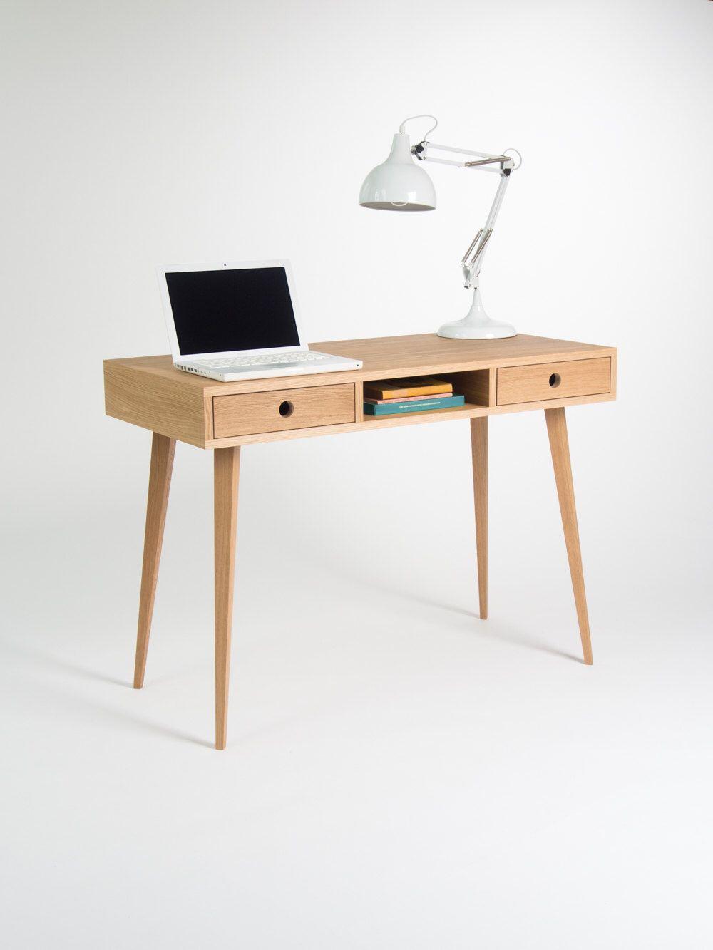 Computer Table Wooden Desk Solid Oak Wood Dressing Table Bureau With Storage Mid Century Modern 140x50 Cm 55x19 5 Modern Scandinavian Furniture Scandinavian Furniture Wooden Desk