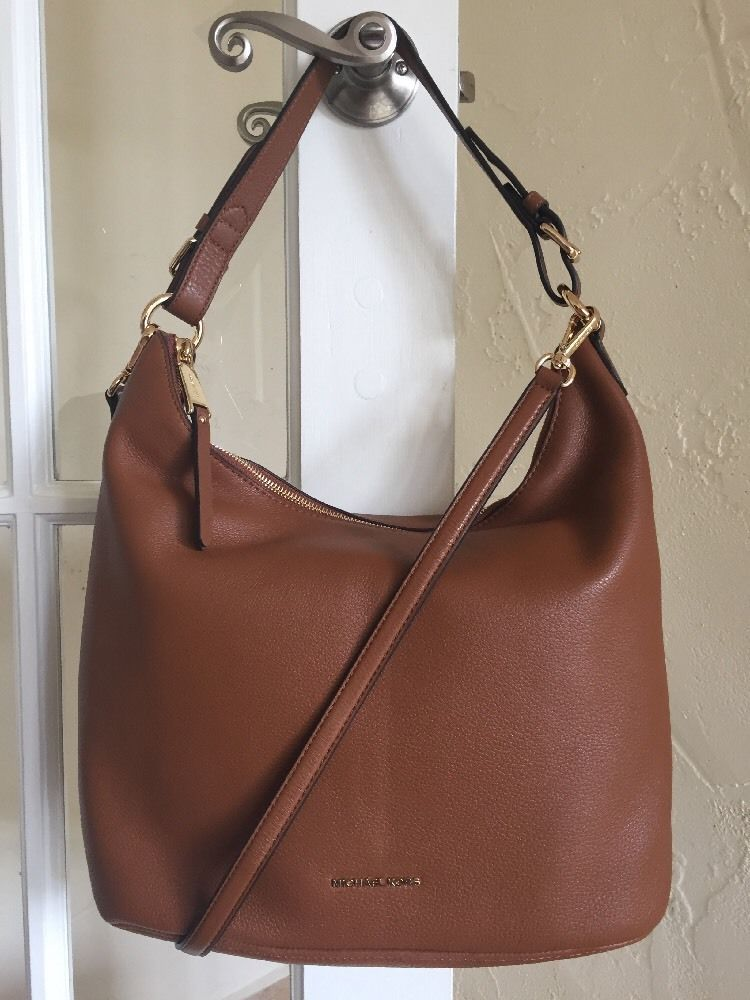 Lex Large Convertible Hobo Bag in Brown Monogrammed Canvas and Burgundy Leather Michael Michael Kors