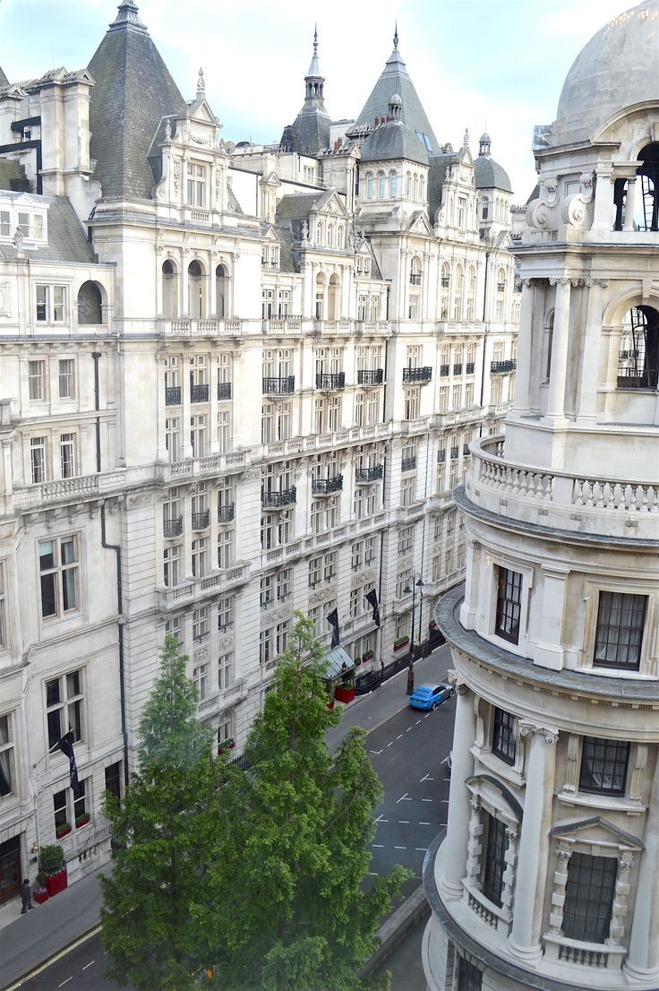 Embankment - Beautiful all-white architecture spotted from the Corinthia Hotel. In addition to being home to one of the city's best spas, this hotel has some of the best views over the Southbank, London UK.