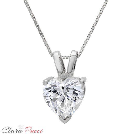 Heart Shape Brilliant Cut Solid 14k White Gold 16 18 Necklace 0.40 Ct Diamond Pendant Heart Necklace