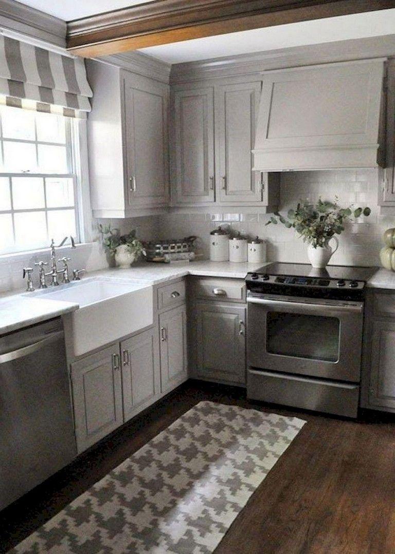 35 Admirable Farmhouse Grey Kitchen Cabinet Design Ideas Grey Painted Kitchen Kitchen Cabinet Design Kitchen Remodel