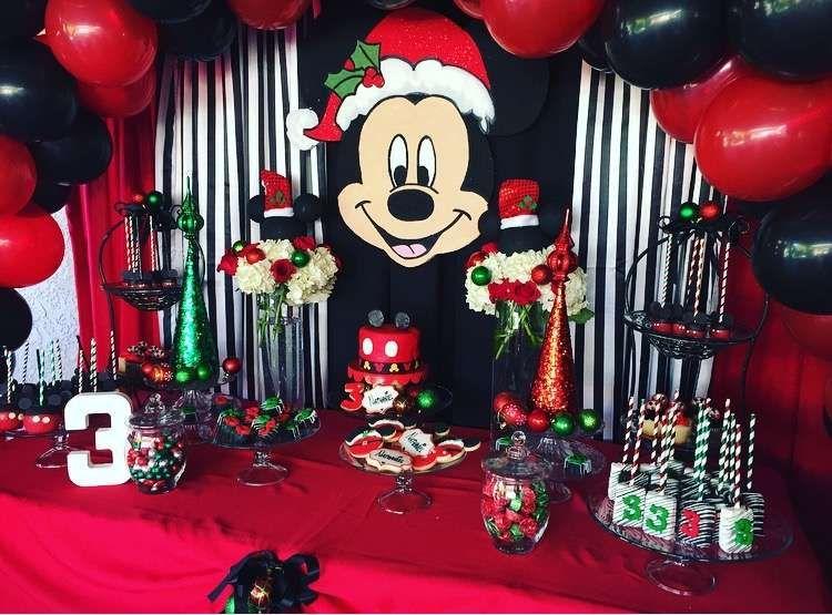 mickey mouse christmas birthday boy birthday party ideas photo 1 of 29 - Mickey Mouse Christmas Party Decorations