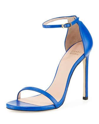 Nudist Leather Ankle-Strap Sandal, Ultramarine by Stuart Weitzman at Neiman Marcus.