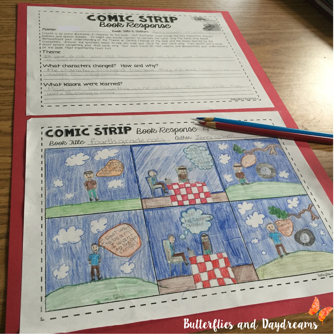 Book report comic strip