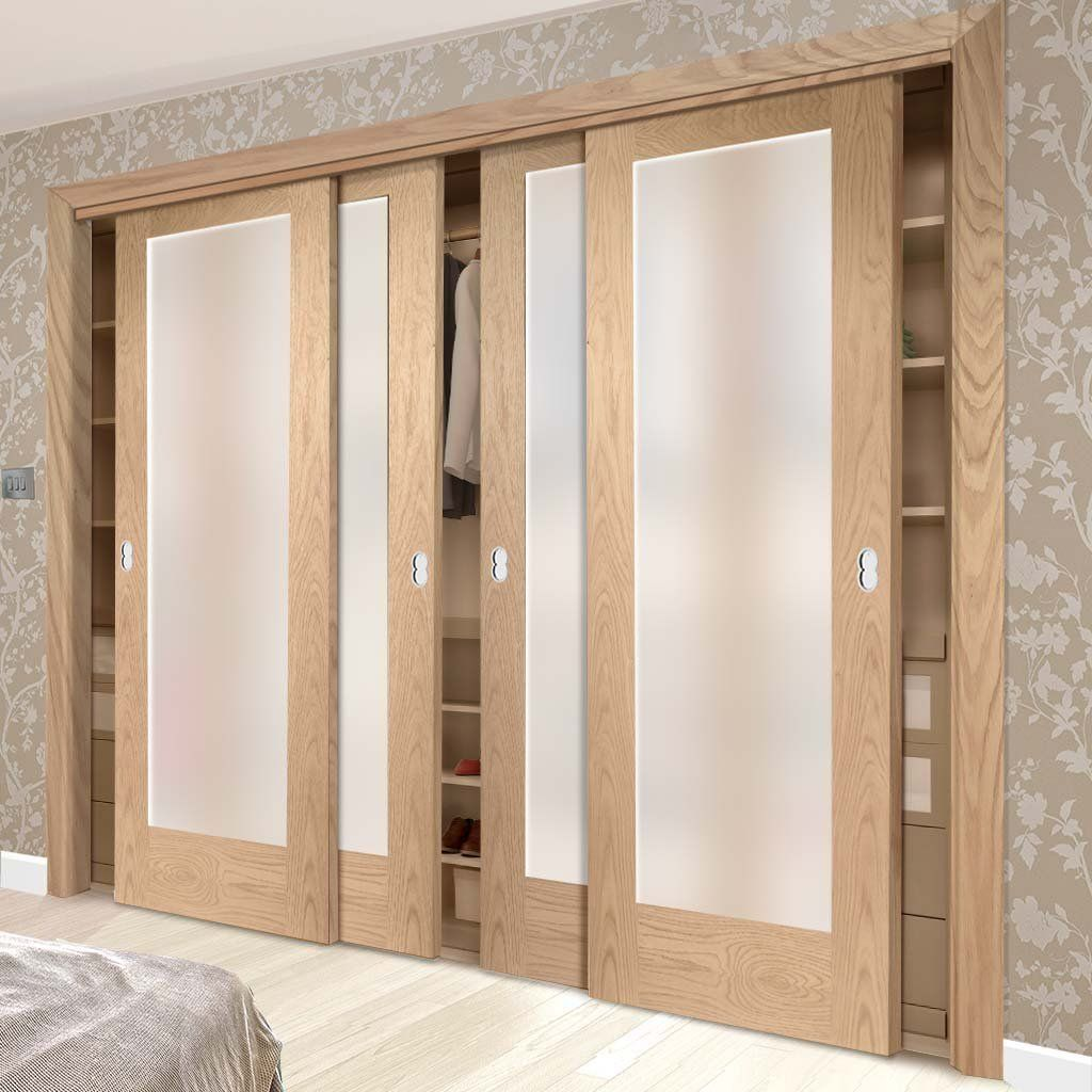 Four Sliding Wardrobe Doors Frame Kit Pattern 10 Oak Shaker Door Obscure Glass Prefinished Slaapkamer Interieur Garderobe Ontwerp Woonideeën