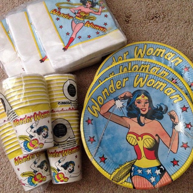 "#PARTY!  Latest #vintage #wonderwoman auction win was this lot of 1977 party supplies.  The cups and the 9"" plates were the last pieces I needed"