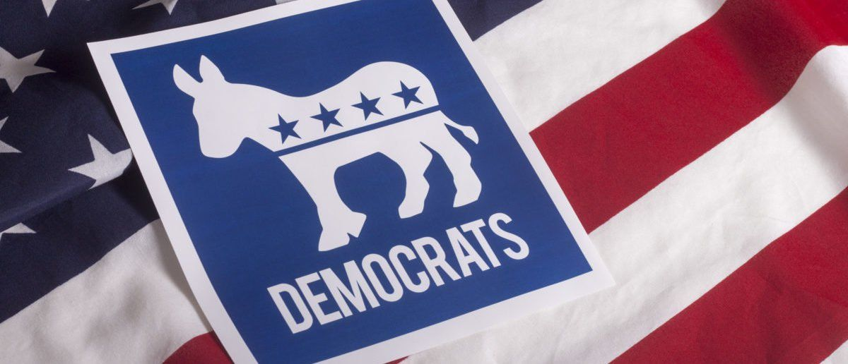 A Democratic Symbol Is On A Textured American Flag Photo
