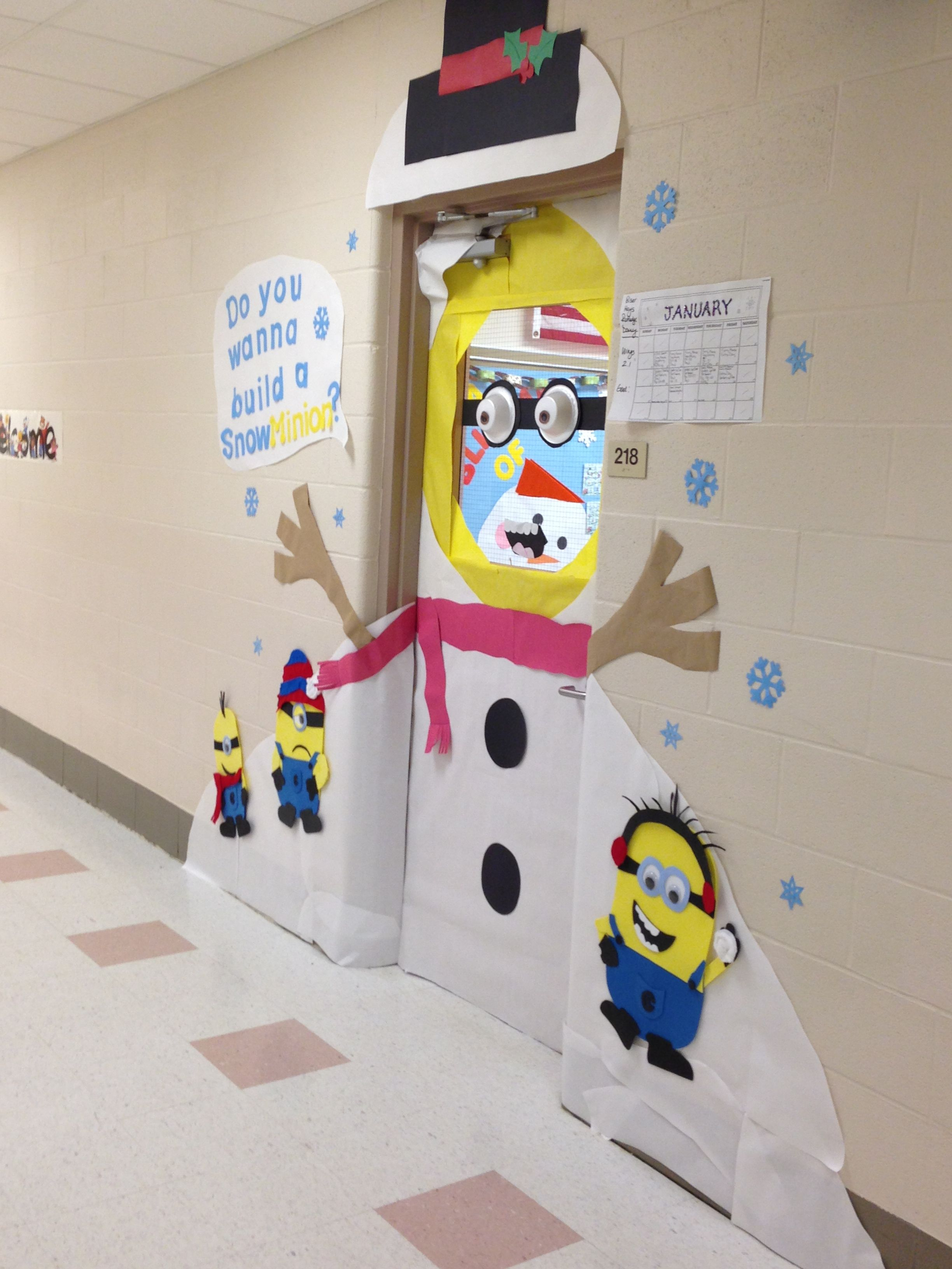 Minion Snowman Classroom Door Do You Wanna Build A Snow