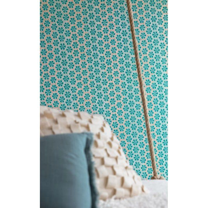 Papier peint intissé Acapulco Mandala bleu turquoise