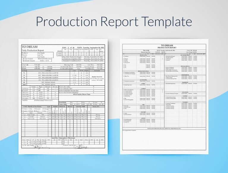 Professional Film Daily Production Report Template Free Report