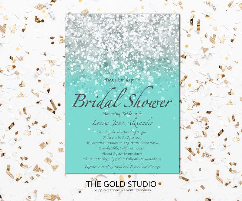 printable blue teal bridal shower invitation glamorous bridal shower print at home glitter invite mac or