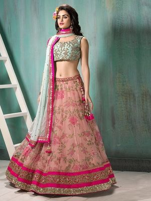 3e1e687e4c Pink embroidered georgette unstitched lehenga   Pink Lehengas ...
