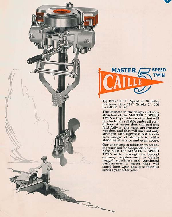 1926 - 27 Caille Master 5-Speed Twin at Jack Craib's Caille Outboard Motor Information Pages