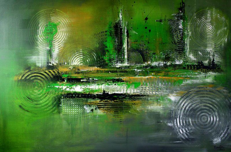 96verkaufte abstrakte bilder inspire 1 grun grau wandbilder original gemalde kunst malerei kunstwe abstrakt acrylbilder grün buntes bild