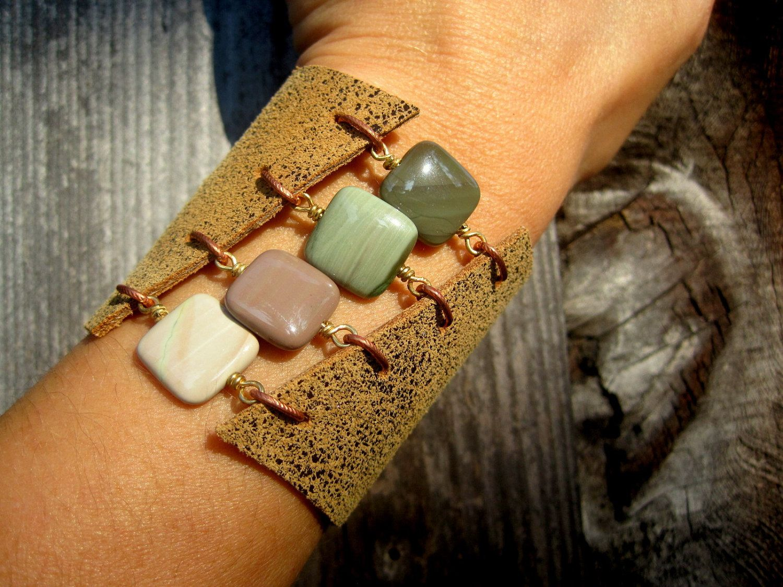 Handmade Boho Leather and Gemstone Cuff Bracelet - Imperial Jasper. $48.00, via Etsy.