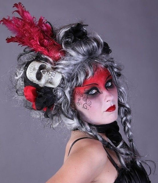 Make up da strega di Halloween - Strega con make up rosso ...