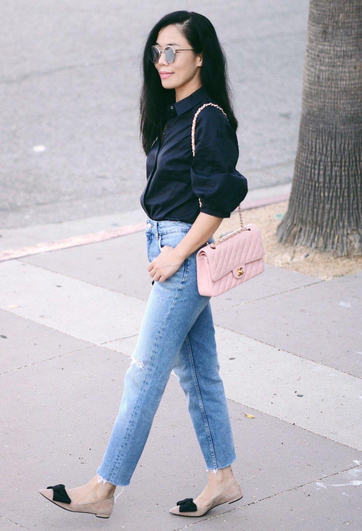 7b530d205cab 7.16 big sleeves (3.1 Phillip Lim shirt + Zara high waist jeans + Prada bow  flats + Chanel bag + Gentle Monster sunnies)