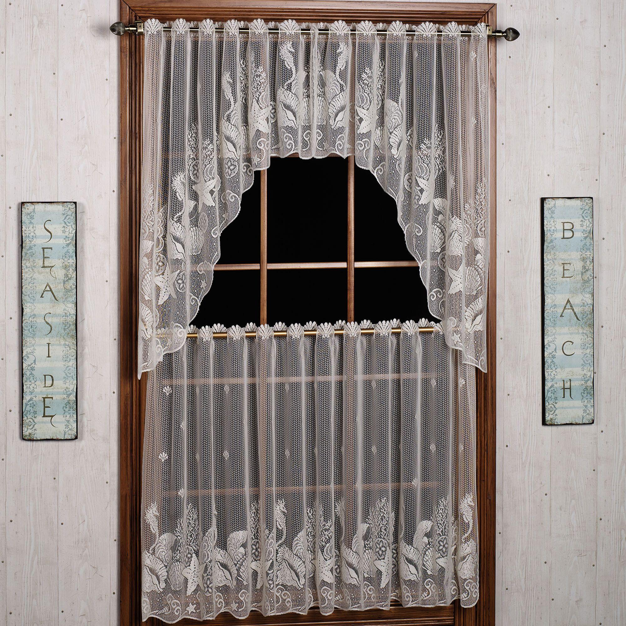 Seascape lace tier window treatment living room pinterest