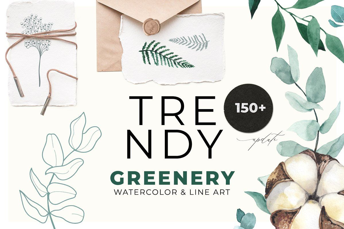 TRENDY GREENERY watercolor & line TRENDY GREENERY watercolor & lineobjects   objects design   objects to draw   objects drawing   objects photography