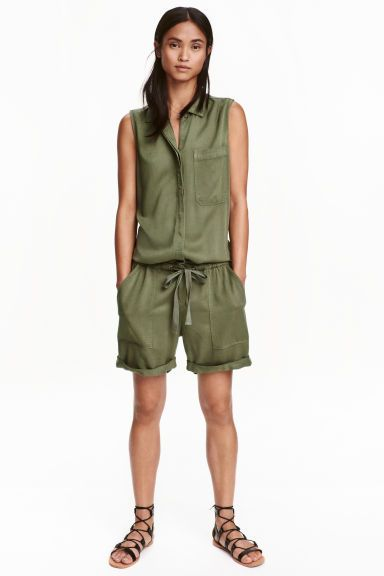 f6607eeefc8 Sleeveless playsuit - Khaki green - Ladies