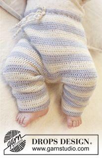 """""""Alpaca""""-langasta virkatut DROPS housut, joiden vyötärössä nyöri. Koot 56/62-98/104 cm. ~ DROPS Design"""