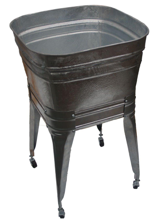 Square Wash Tub With Stand And Drain Amazon Com Galvanized Wash Tub Wash Tubs Laundry Room Sink