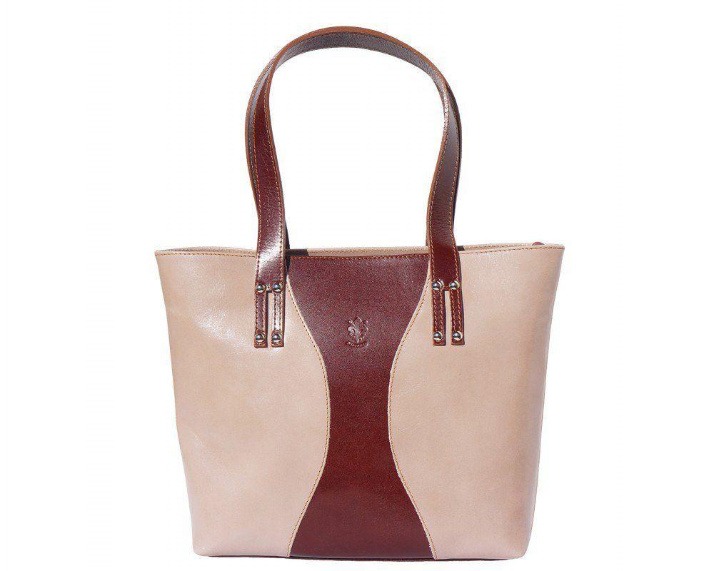 Luxusní kožená kabelka přes rameno nebo do ruky Florence Julia ze světlé kůže.