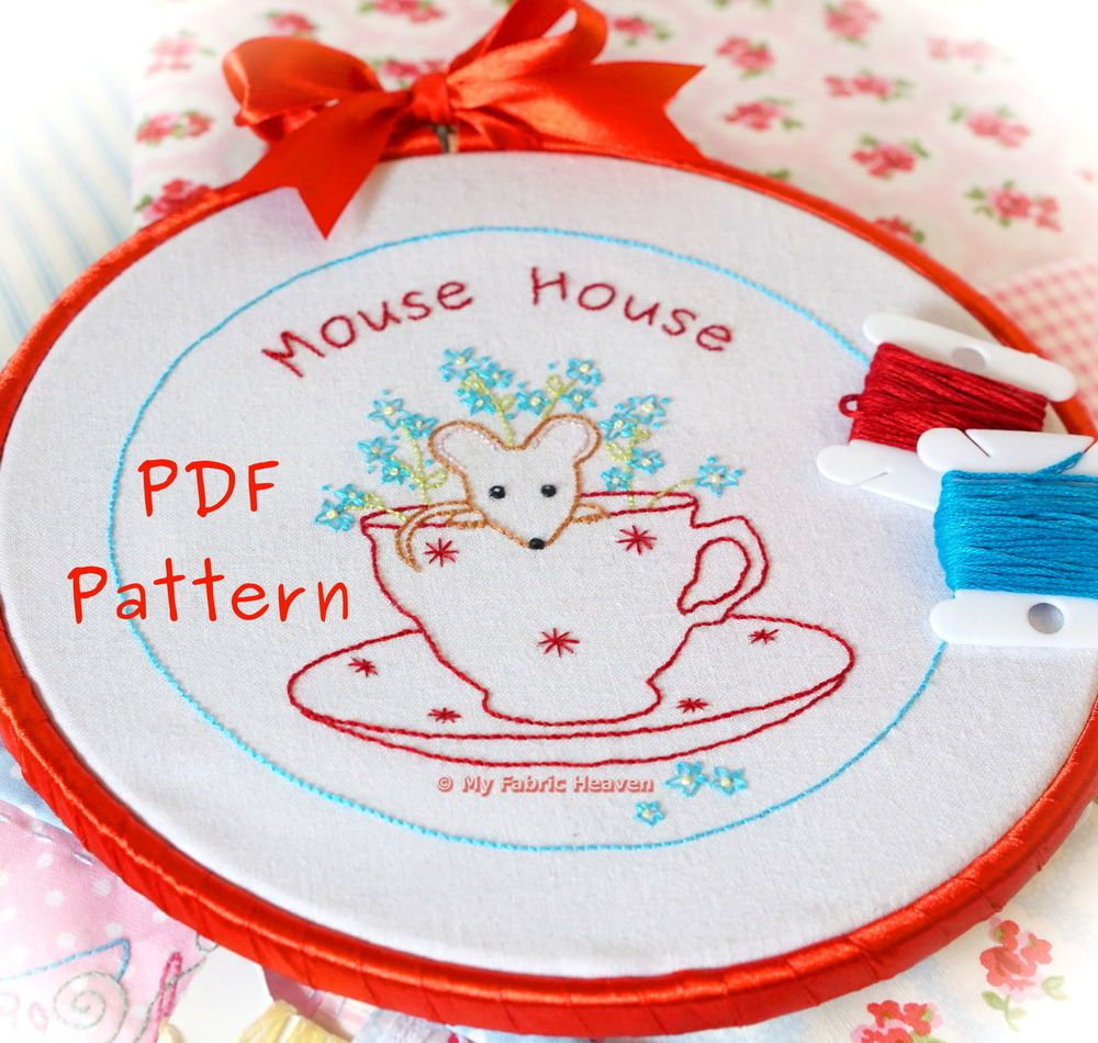 Mouse-House Hand Embroidery PDF Sewing Pattern & Tutorial ...