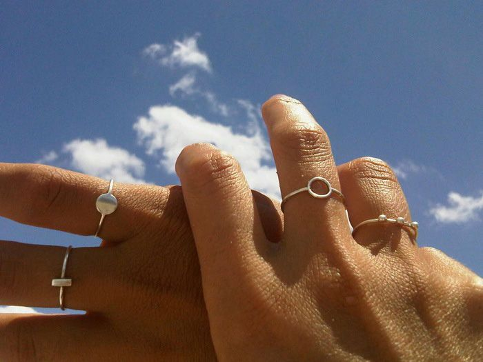 jewelry, rings, fingers, hand, silver, sky, WOLFCUB