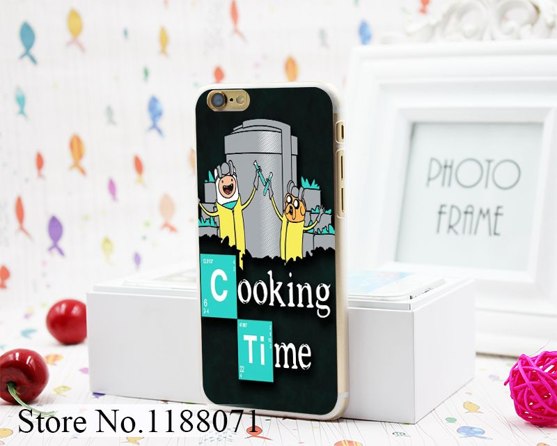 Adventure Time Breaking Bad Cooking Time Design Hard Clear Skin Transparent for iPhone 6 6s 6+ 6 Plus Case Cover