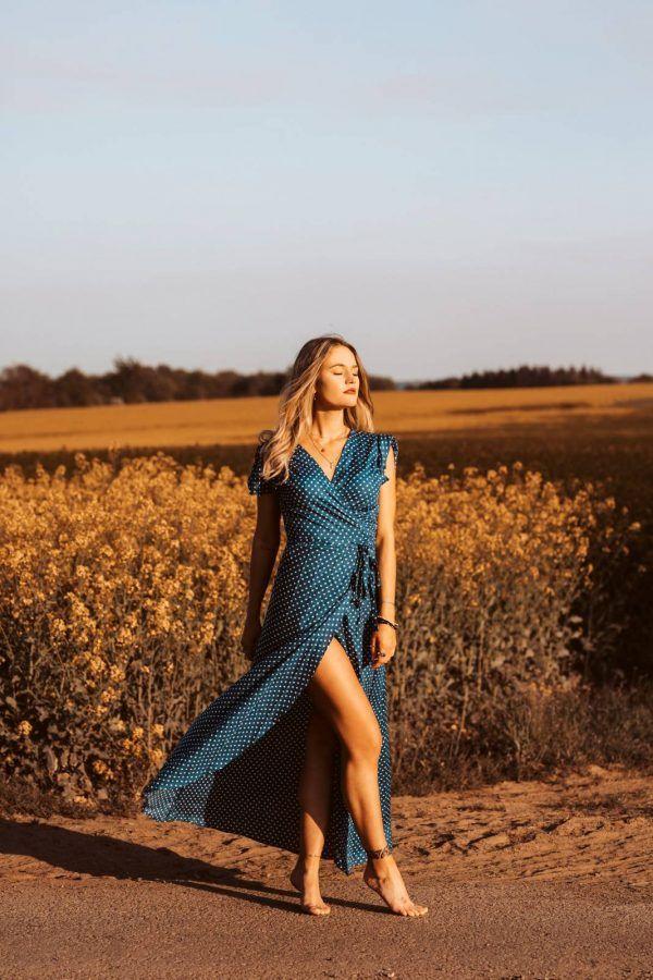 Polka Dot Kleid Lang Blau Sommerkleid Gepunktet Blau Weiß ...