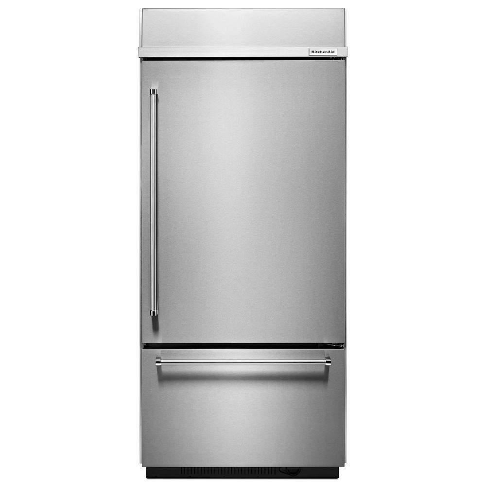 Kitchenaid 20 9 Cu Ft Built In Bottom Freezer Refrigerator In Stainless Steel Platinum Interior Kbbr306ess Bottom Freezer Refrigerator Bottom Freezer Built In Refrigerator