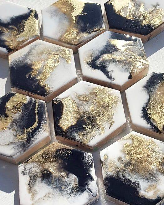Black & Gold hexagon coasters | Mixed media origin