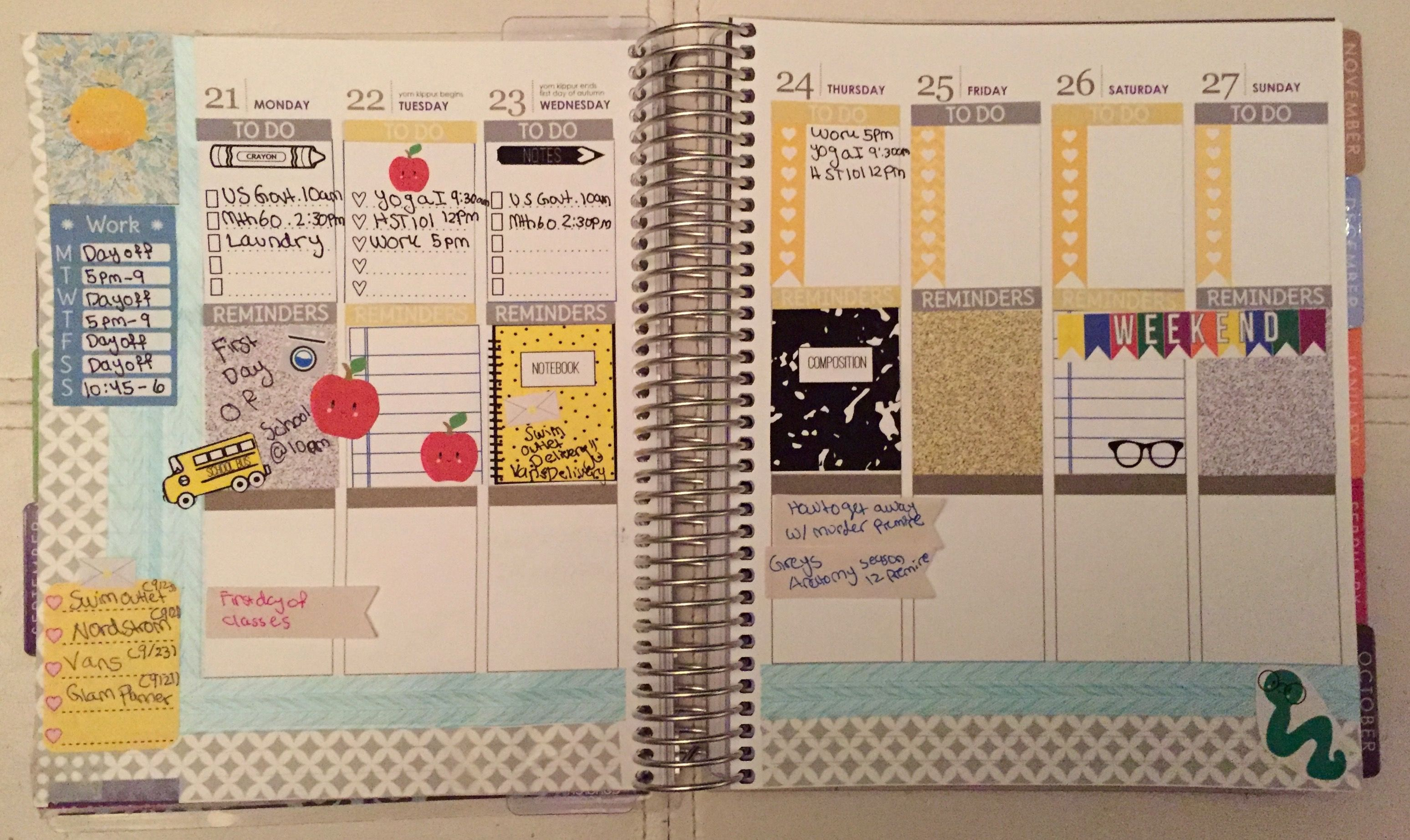 Planner and Lifestyle/Organization Blog http://birkenstocksandstickers.blogspot.com/2015/09/planner-sneak-peek-921-927.html