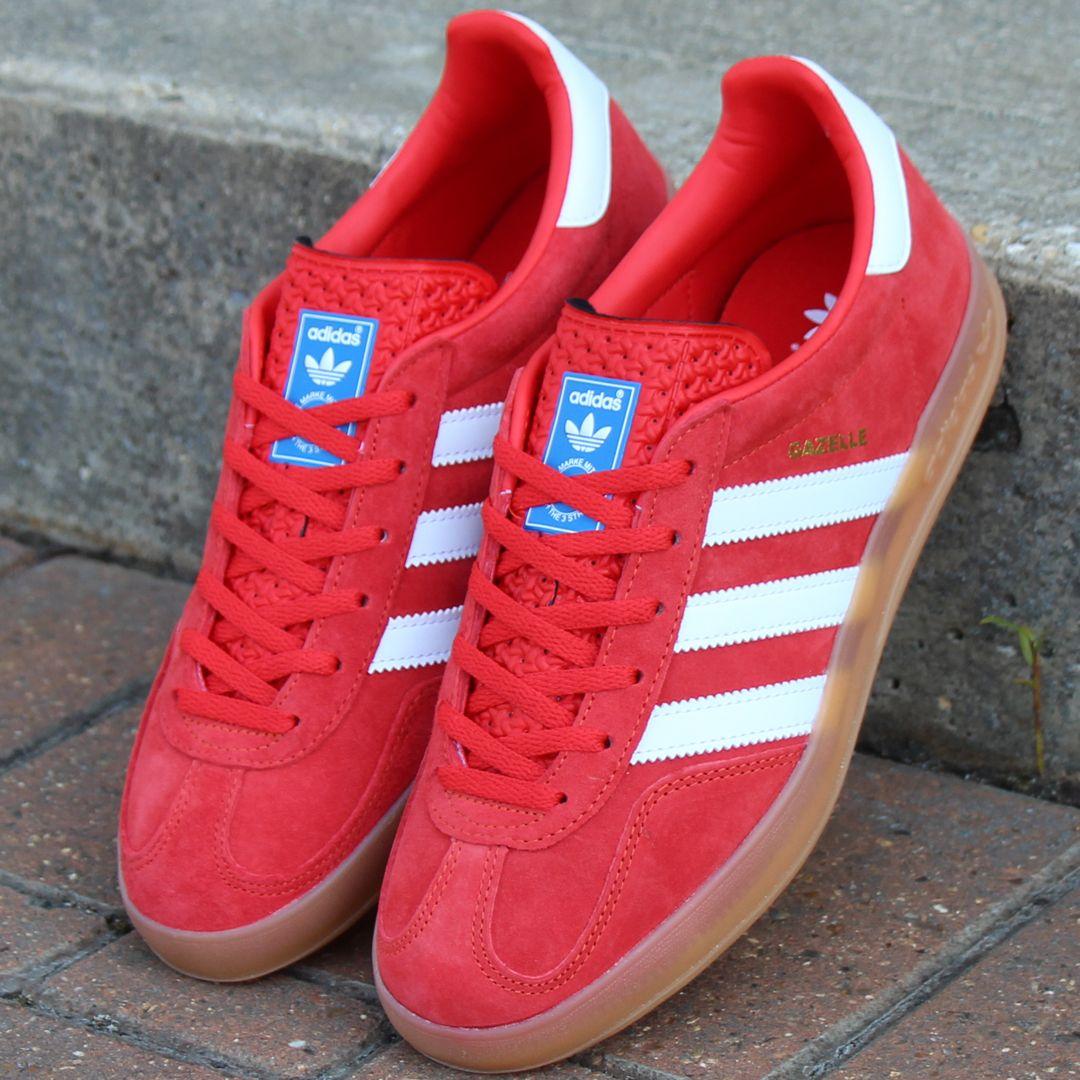 Adidas Gazelle Indoor Trainers Red/White | Adidas gazelle, Adidas ...