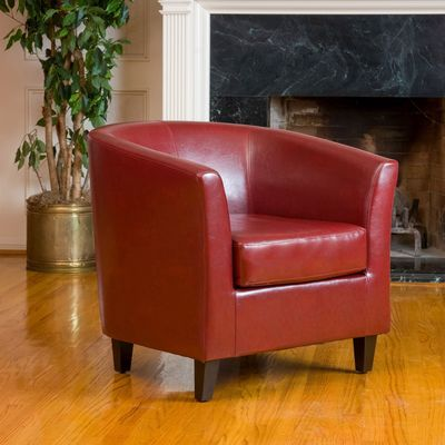 Hugo Red Leather Club Chair is part of Red Home Accents Family Rooms -