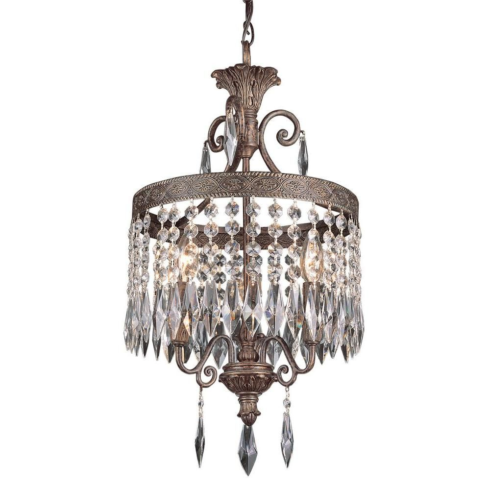 Bel Air Lighting Cabernet Collection 3 Light Patina Bronze Pendant With Shadeless Clear Crystal Prisms