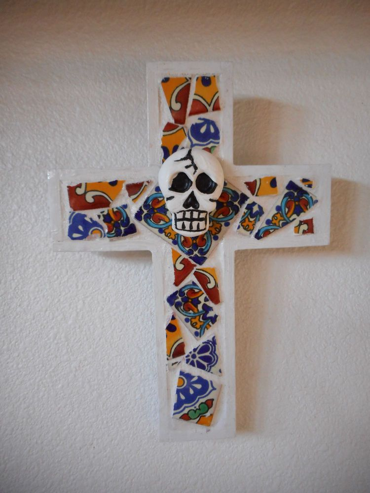 Day of the Dead Sugar Skull Handmade Talavera Tile  Mosaic Cross Wall Decor