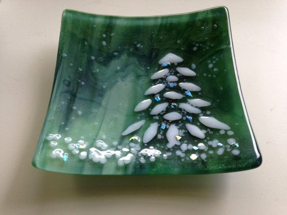 Green Marble Glass with Snowy Holiday Christmas Tree by Marusca